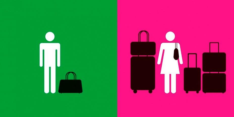 Nous ne sommes pas identiques-hommes-femmes-bagage-voyage